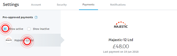 Show active payments in PayPal payments page